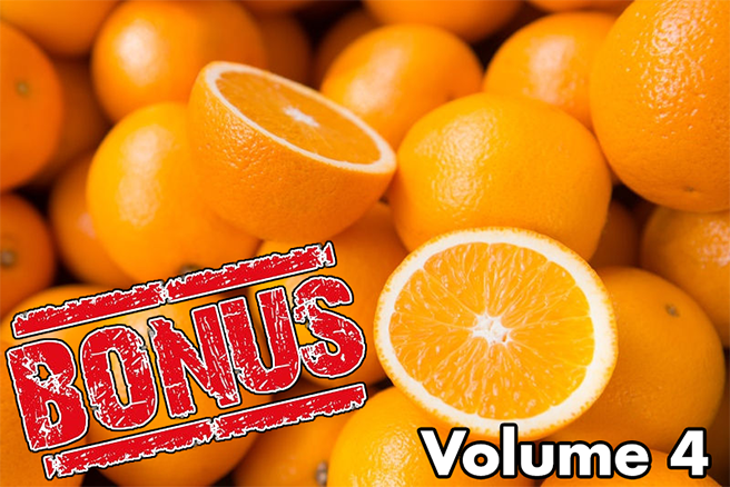 "Picture of oranges, with the word ""BONUS"" superimposed"