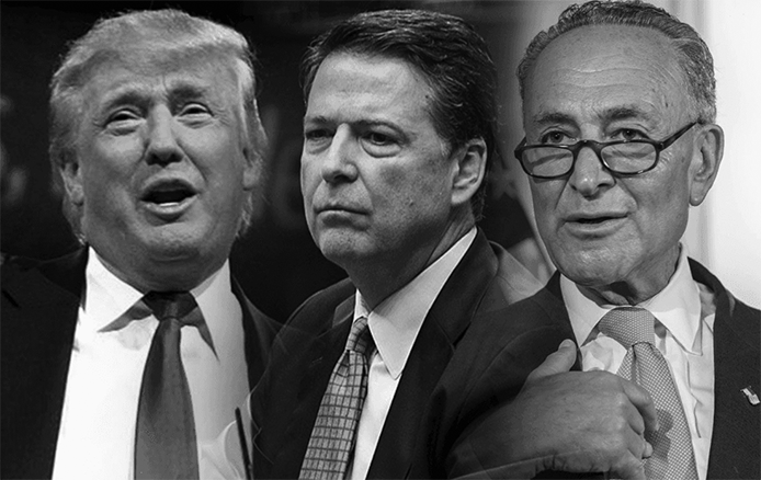 Grayscale picture of Donald Trump, James Comey, and Chuck Schumer