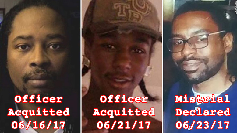 Cover photo for the post, showing side-by-side pictures of Philando Castile, Sylville Smith, and Samuel Dubose, each with dates superimposed of when the police officer who killed each one was acquitted