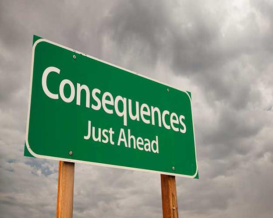 "Sign that reads ""Consequences Just Ahead"""