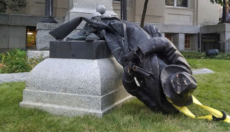 Picture of Durham's Confederate monument after being toppled