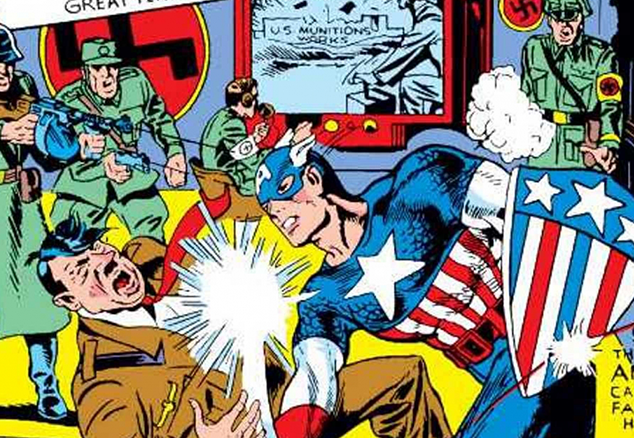 Picture of Captain America punching Adolf Hitler
