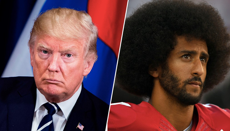 Picture of Donald Trump on left, Colin Kaepernick on right
