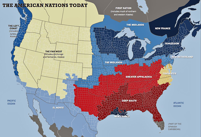"Precinct map of America, with colors corresponding to the current ""nations"" as identified by Tufts University researchers"