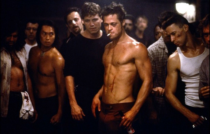 Screenshot from the movie Fight Club, discussing the First Rule