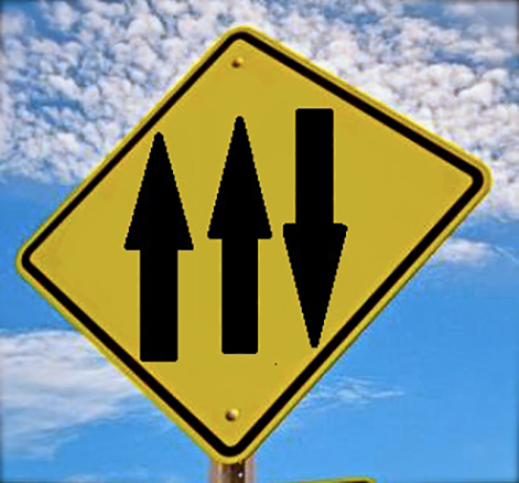 Picture of traffic sign with 2 forward arrows and 1 backward arrow