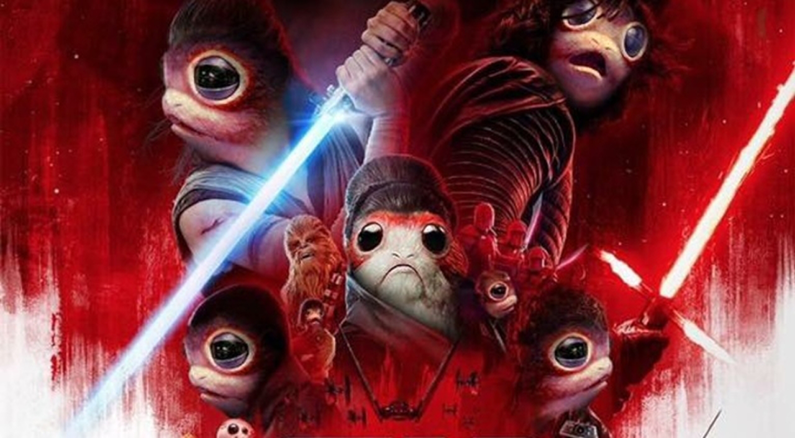 A picture of Star Wars: The Last Jedi movie poster, but with porgs