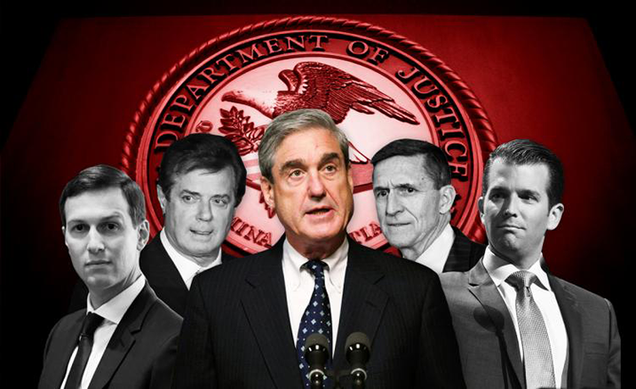 Picture of Robert Mueller in color at foreground, with grayscale background profiles of Jared Kushner, Paul Manafort, Michael Flynn, and Donald Trump Jr