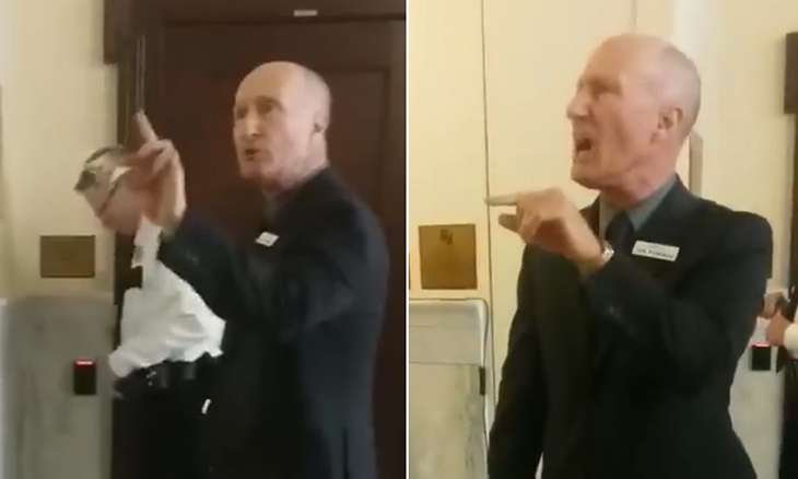 Picture of Idaho state senator Dan Foreman yelling at college students