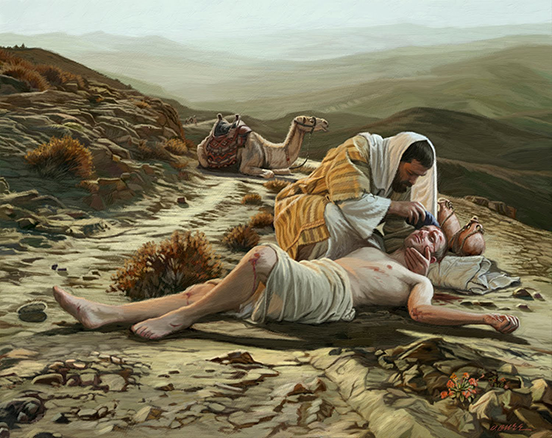 Painting of the Good Samaritan helping a beaten man on the side of the road