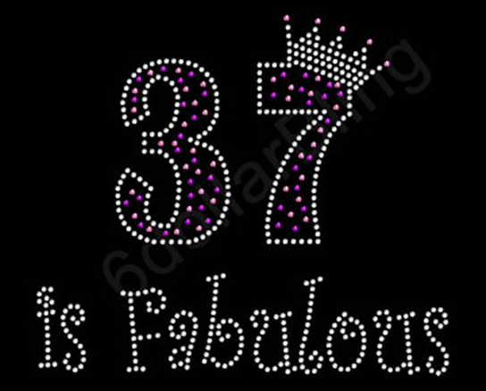 "Picture of embroidered text that reads ""37 is Fabulous"""