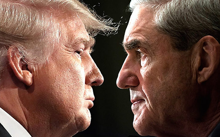 Face-off picture with Donald Trump on the left, facing rightward, and Robert Mueller on the right, facing leftward