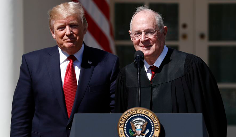 Picture of Donald Trump standing next to Justice Anthony Kennedy announcing Kennedy's resignation