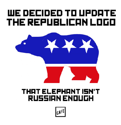 "Picture of a bear silhouette facing left, colored like the Republican Party logo, with text that reads ""We decided to update the Republican logo. That elephant isn't Russian enough."""