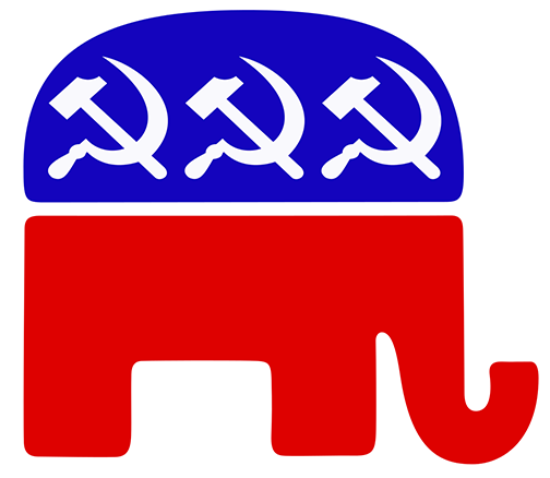 Picture of the GOP elephant logo, with the three stars replaced by USSR hammers-and-sickles