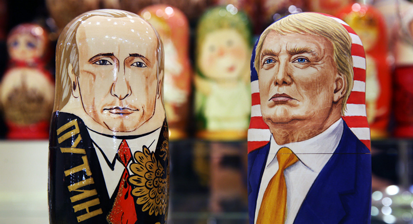 Picture of Russian nesting dolls of Vladimir Putin and Donald Trump