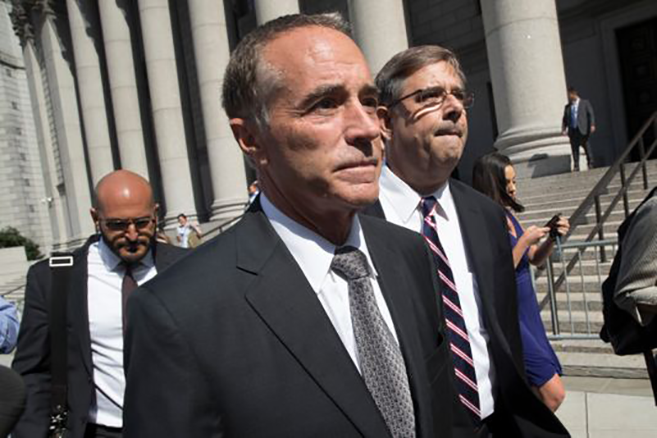 Picture of Congressman Chris Collins leaving federal courthouse after his indictment for insider trading