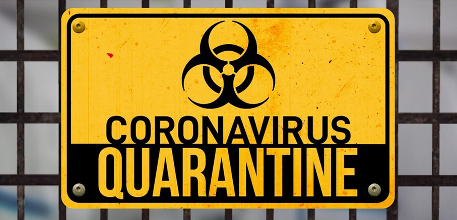 "Warning sign that reads ""Coronavirus Quarantine"" with the biohazard symbol"