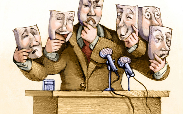 Episode Cover Art, picture of person at podium wearing a mask, with multiple sets of hands holding other masks with different facial expressions