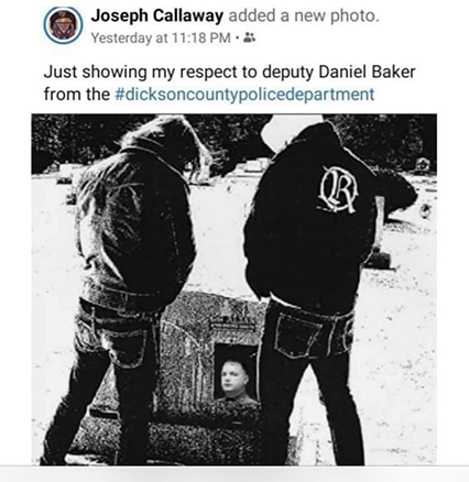 "Photo that led to the arrest of a Tennessee man, taken from the album cover of ""Pissing On Your Grave"" by The Rites. Shows two individuals urinating on a tombstone, with a picture of a deceased police officer photoshopped onto the headstone."